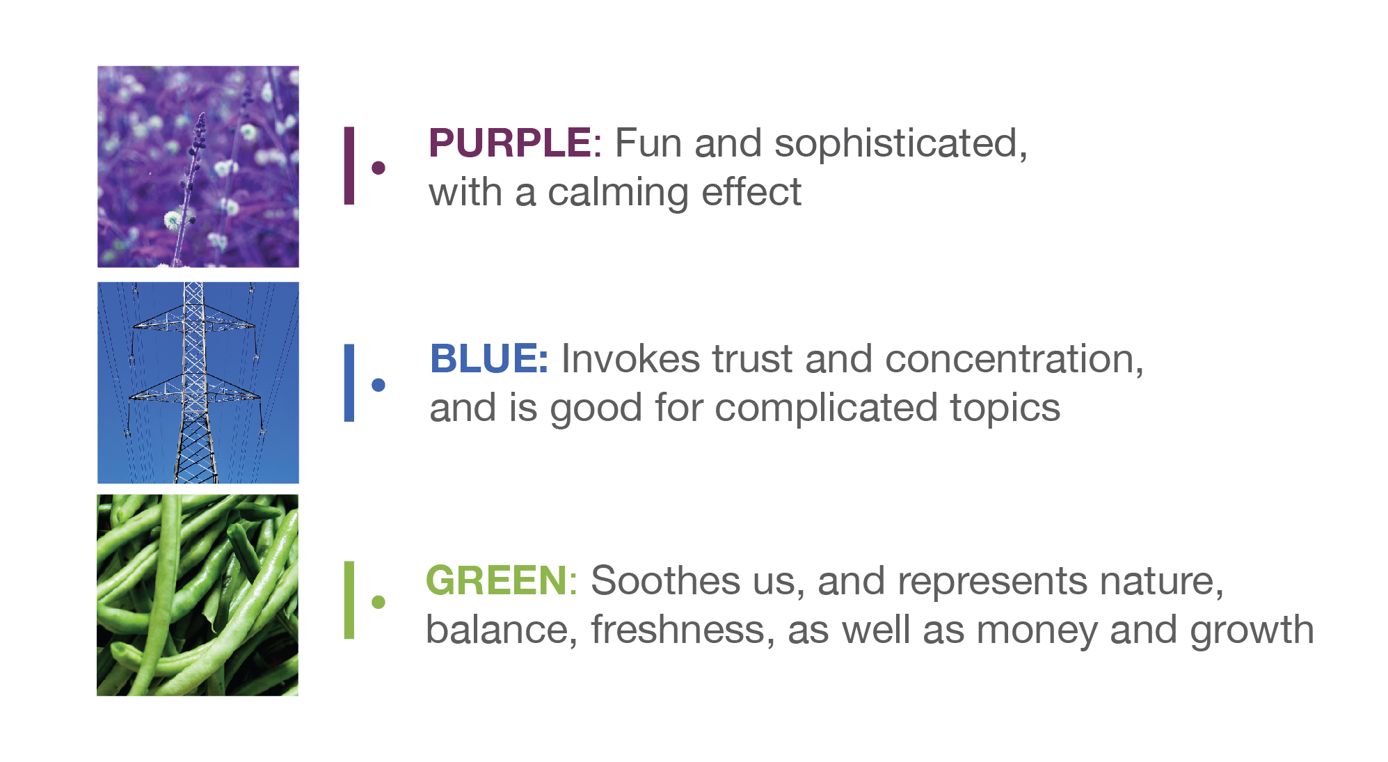 the psychology of colour using cool colour tiles, namely purple, blue and green
