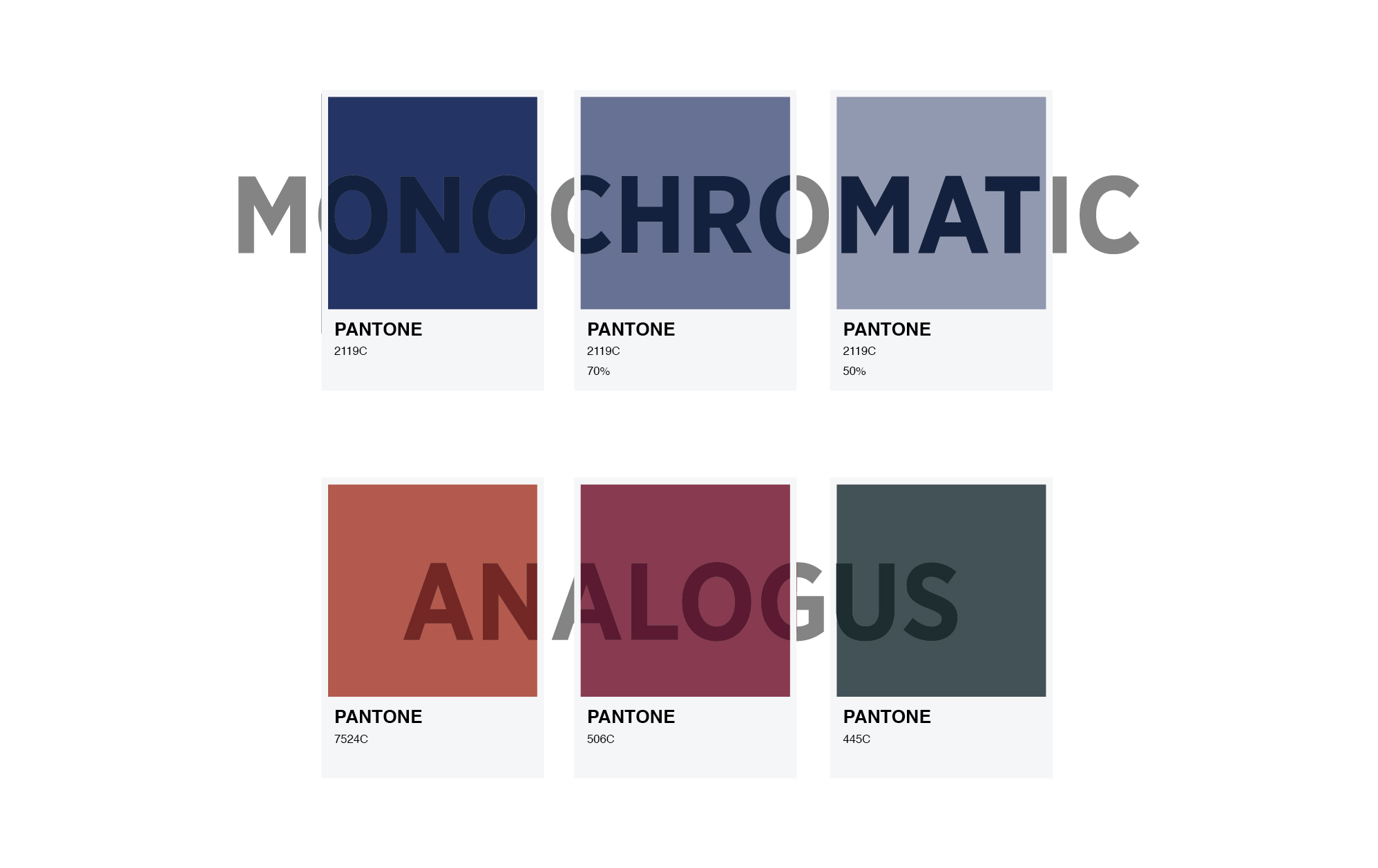 pantone colour squares indicating monochromatic and analogus colour