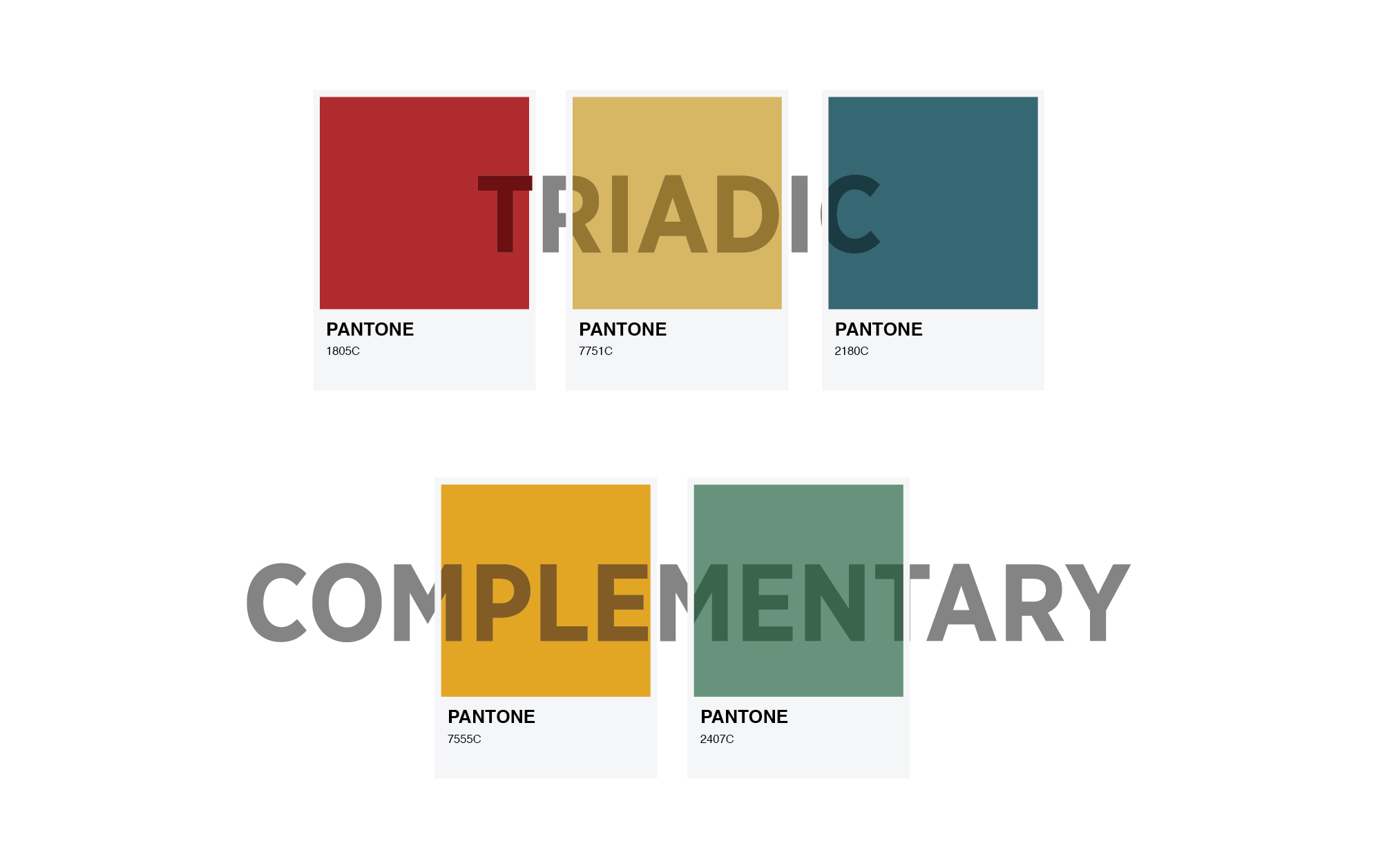 pantone colour swatches indicating triadic and complementary colours