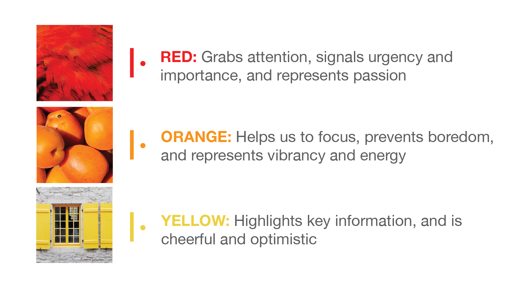 image describing the psychology of colour with reference to warm colour tiles in red, orange and yellow